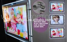 Double Sided acrylic hanging LED light box frame,led light frame with slot