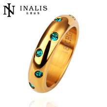 Stylish Champagne Gold stainless steel jewelry making crystal thin rings jewelry R154