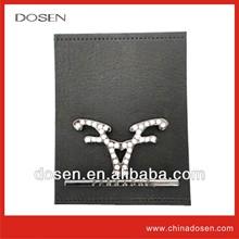 wholesale designer brand high quality brand PU label + shinny rhinestone metal plate china manufacturer