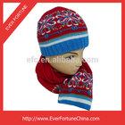 Acrylic Girls Kids Knitted Machine Jacquard Hat and Scarf Set