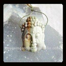 Carved Picasso Jasper Buddha Head Pendant