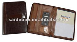 Leather business zipper portfolio with calculator,leather cover zipper business portfolio organizer,a3/a4/a5 zipper portfolio