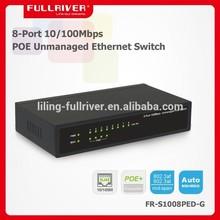 802.3af 15.4W 8-Port 100Mbps POE Ethernet Switch for APs, IP Cameras or VOIP 48V 1.5A (4 port PSE)
