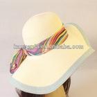 ladies wide brim straw beach sun hat/summer hat