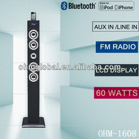 usb sd mp3 wooden active tower speaker with bluetooth