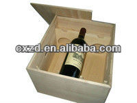 2 tier Wooden wine box with a slide lid