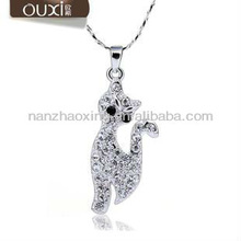 OUXI Rhodium Plated Cat Pendants Necklace with Austrian Crystals