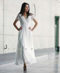 (KJ-WAB7012 ) 2014 latest design baju kurung with 2 layers composite silk designs