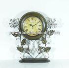 Antique decorative dark brown metal table clock