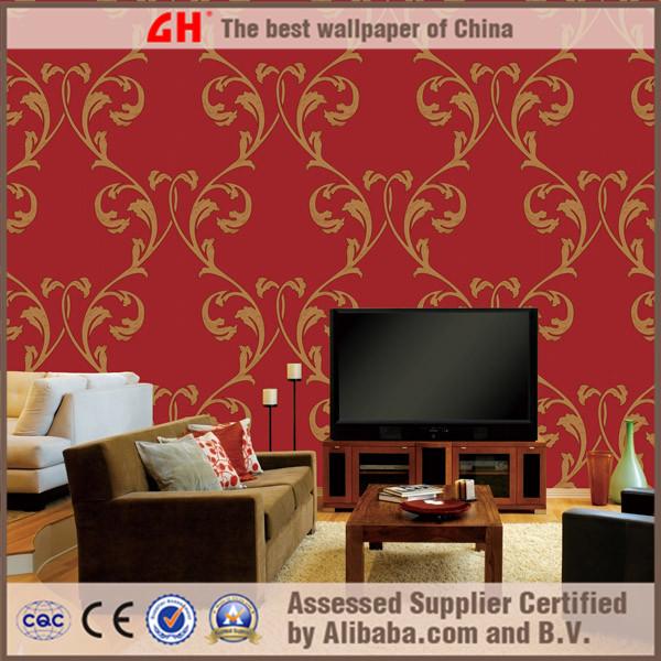 Modern damask design vinyl decorative wall coverings tv wall decorating