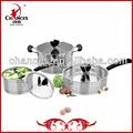 Pcs 6 cazuela de acero inoxidable/cacerola/frying pan
