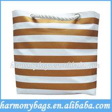 600D polyester golden stripe printing beach bag