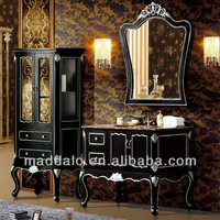 ML-8914 Top End luxury Western Oak Solid Wood Anitque Bathroom Vanity