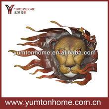 Metal lion head wall art sculpture