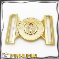 customized bling zinc alloy round shape embossed logo gold belt buckle