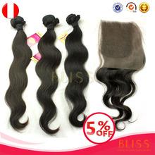 China 6a Virgin Hair Bundles With Lace Closure, Bliss Unprocessed Peruvian Virgin Hair