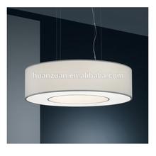 hotel designed lobby cloth shade big pendant light,round channel lamp