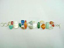 Assorted Gemstone Metal bracelet