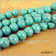 pujiang new 10mm Blue smooth round Glass Bead Strand Fluorescence Color