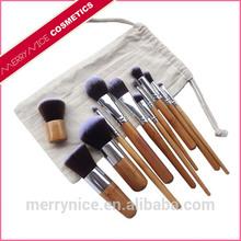 11 piece makeup brush kit,natural hair makeup brush,bamboo makeup brush set