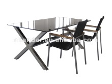 stainless steel frame dining table and rattan chair
