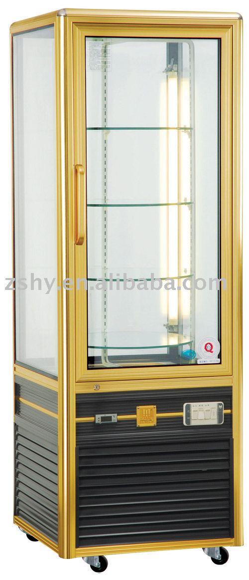 Rotativo prateleiras de vidro bolo de exibição vitrine