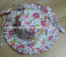baby girl sun hat flower pattern 100% cotton cap