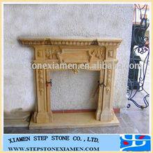 yellow stone indoor fireplace