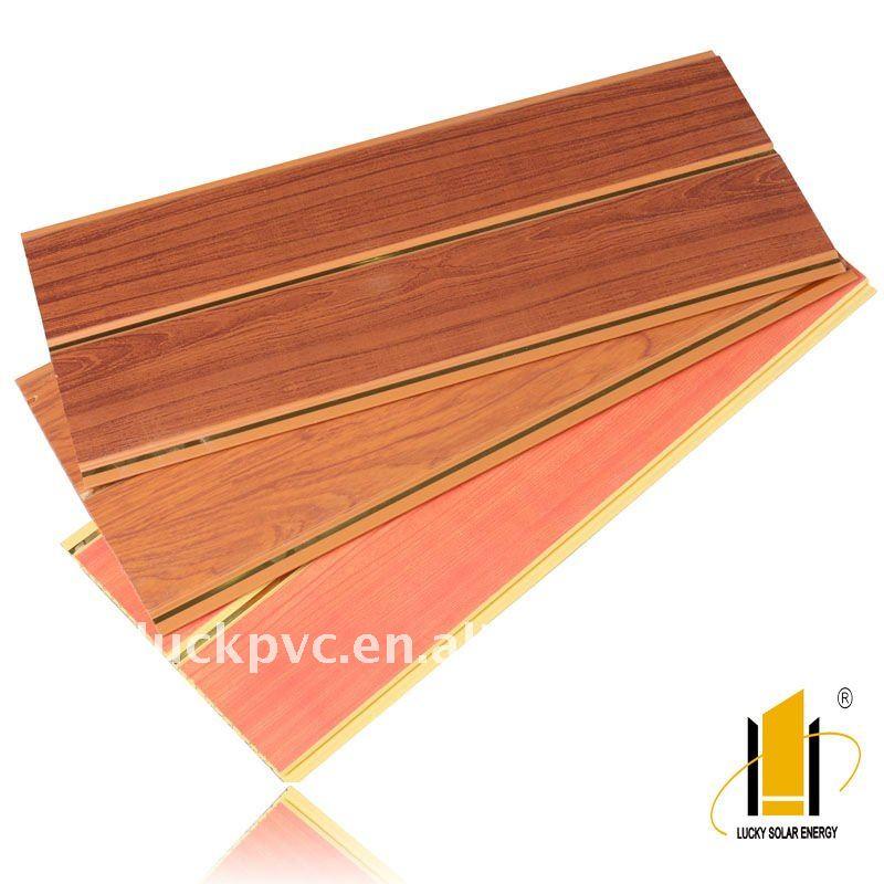 Riche color woodgrain groove panneau mural pvc chine for Panneau mural pvc