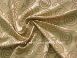 100% polyester jacquard window curtain fabric with golden circle floral pattern fabric Home textile dot curtain fabric