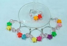 Birthday charms wine glass, good luck star wine glass charm, wine charm set