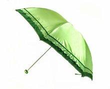 2012 Vogue Nice Beautiful Lady Gift Glow Frilled Three Fold Small Pocket Sun Umbrella