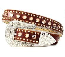 Rhinestone western leather belt/pu belt/fashion lady belt