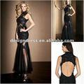 negro sexy de encaje con lentejuelas de alta del cuello espalda abierta sirena vestido de noche velada para vestido de fiesta de la moda design2012 a2054