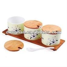 ceramic cruet set with wooden lid