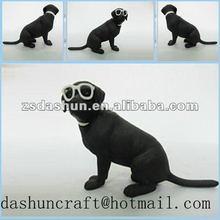 Blackdog set fashionable handsome glasses wearing black resin pet dog /animal figurine