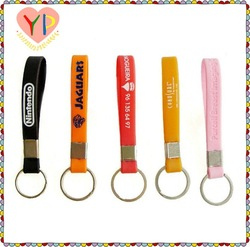 Factory directly PVC silicone rubber keyring keychain lanyard / mobile phone strap with debossed & color-filled for promote item