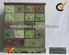 Shabby chic multi drawers wooden cabinet