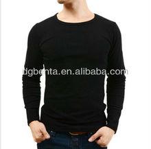 2015 black plain long sleeve t shirt in men thin long sleeve t shirts for men in apperal