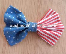American flag fabric large hair bow, make fabric bow, America flag accessory
