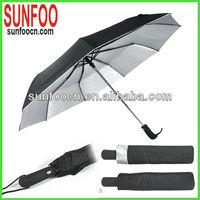 Black Anti-uv protection auto open and close compact travel gents umbrella