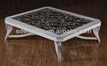 Antique móveis para sala/branco mesa de centro com tampo de vidro/vintage alta qualidade mesa de madeira maciça mg-7921
