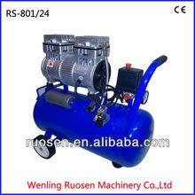 24L 1hp electric piston oil free air compressor with horizontal tank/silent oil free air compressor