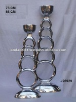 Mirror polished Candle Holder made in cast Aluminium style Submerging rings