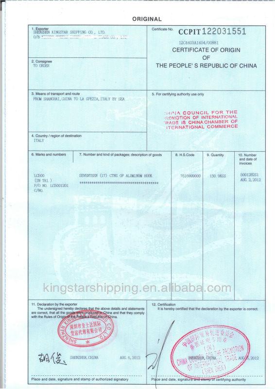 certificate of origin form pdf
