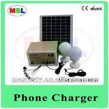 Solar lighting system battery+ 2 LED Bulbs+10W solar panel+Phone charger