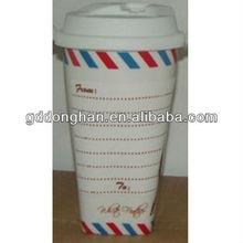 2013 Newest design ceramic writing on mug with silicon lid
