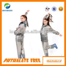 Adult ransparent PVC rain coat with hood for women