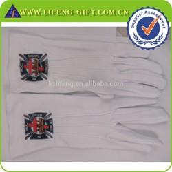 Custom Free Size Embroidery Logo Masonic White Cotton Gloves