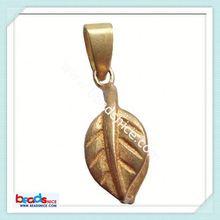 ID 6448 Pendant bail pinch style brass leaf hip hop wood pendant